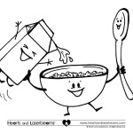 Free Coloring Pages – Breakfast Cereal, Milk and Spoon