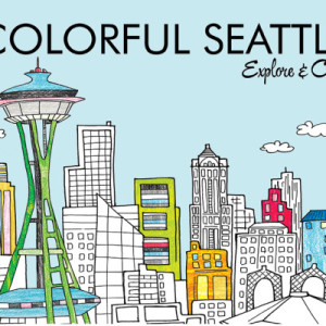 Colorful Seattle autographed coloring book illustrated by Steph Calvert of Hearts and Laserbeams