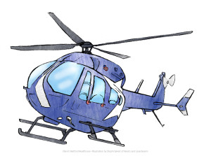 Building Illustrations for Hartford Healthcare - Lifestar Helicopter by Steph Calvert of Hearts and Laserbeams