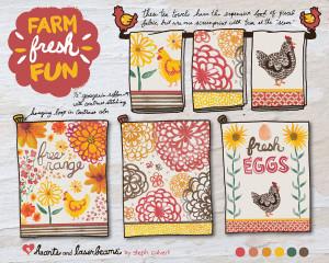 Farm Fresh Fun tea towel group by Steph Calvert of Hearts and Laserbeams