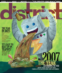 District Magazine Cover - Puking Robot Painting by Steph Calvert of Hearts and Laserbeams