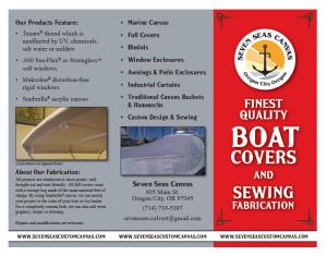 Tri-fold brochure for Seven Seas Canvas