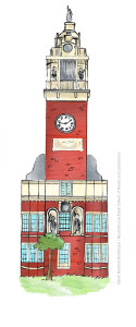 Building Illustrations for Hartford Healthcare - Clock Tower by Steph Calvert of Hearts and Laserbeams
