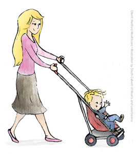 Illustrations for Hartford Healthcare - Woman Pushing Stroller by Steph Calvert of Hearts and Laserbeams
