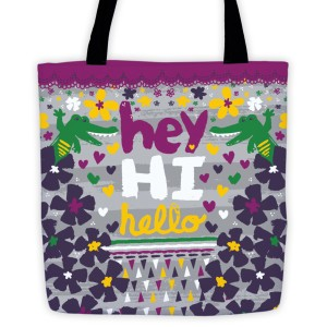 Hey Hi Hello Alligators tote bag