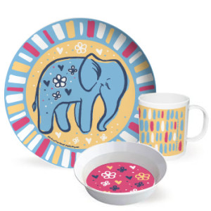 Happy Jungle Friends cute dinnerware set - Elephant by Hearts and Laserbeams
