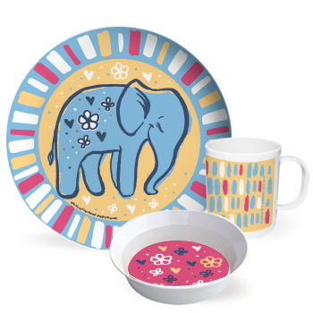 Happy Jungle Friends cute dinnerware set - Elephant by Hearts and Laserbeams  sc 1 st  Steph Calvert & Happy Jungle Friends Cute Dinnerware Sets for Kids
