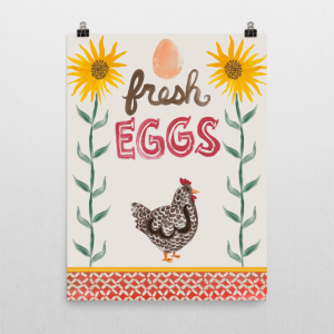 Fresh Eggs Chicken and Sunflowers art print