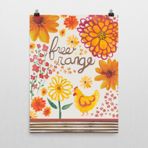 Free Range chicken and flowers art print mockup