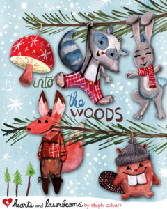 Into the Woods - Cute Woodland Animals Christmas Ornaments by Steph Calvert of Hearts and Laserbeams