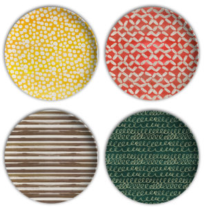 Farm Fresh Fun hand painted texture melamine plates by Hearts and Laserbeams